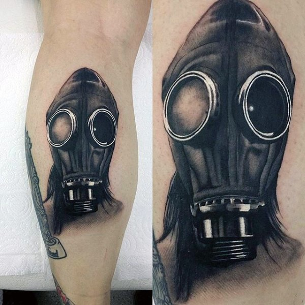 Realistic painted black and white leg tattoo of man in gas mask