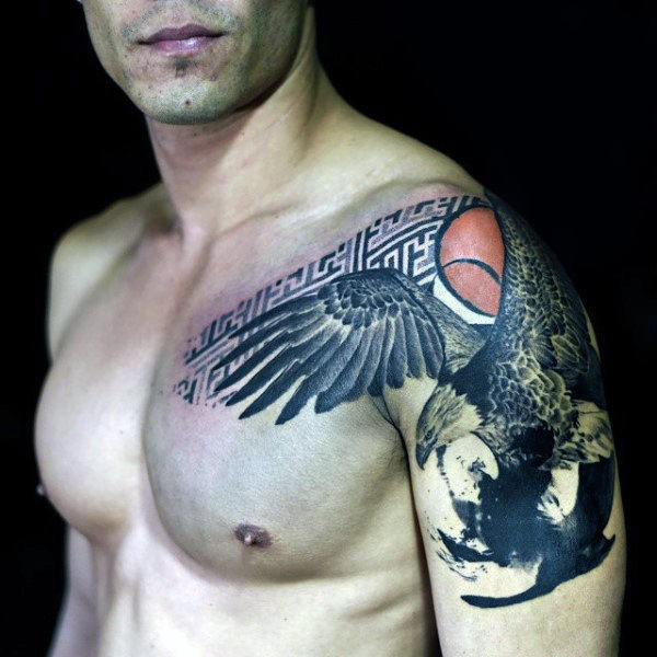 Realistic painted upper arm tattoo of flying eagle combined with geometrical figure