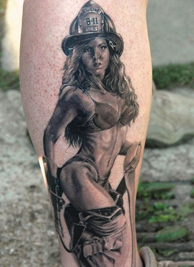 Realistic photo like black and white sexy firefighter woman tattoo on leg