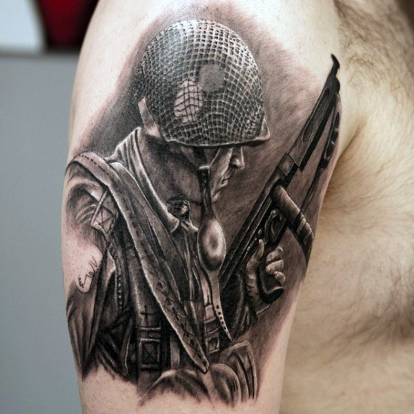 Realistic photo like black and white WW2 American soldier upper arm tattoo