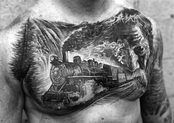Realistic photo like black ink old steamy train tattoo on chest