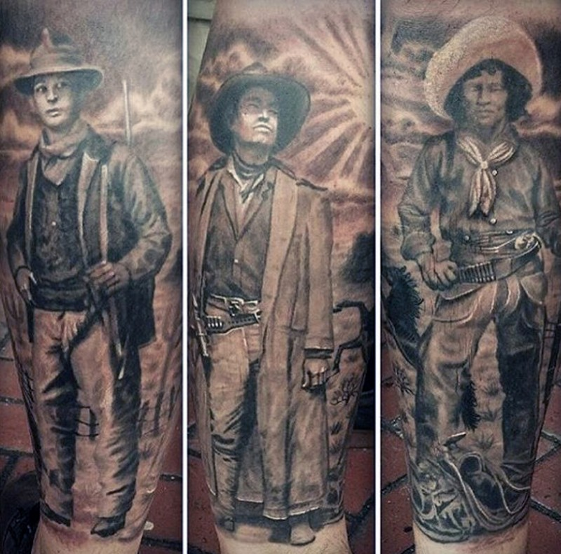 Realistic photo like colored cool western cowboys tattoo on sleeve