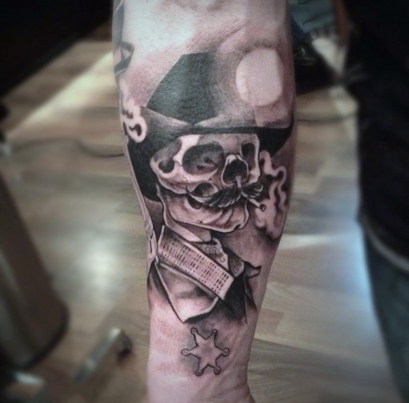 Realistic photo like smoking cowboy skeleton tattoo on arm