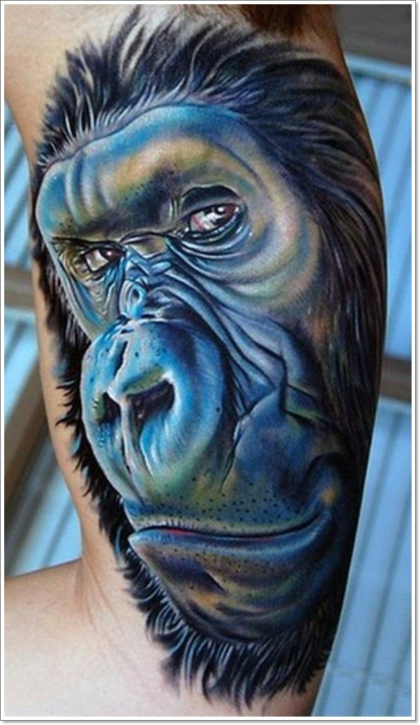 realistic portrait of monkey tattoo on half sleeve. Black Bedroom Furniture Sets. Home Design Ideas