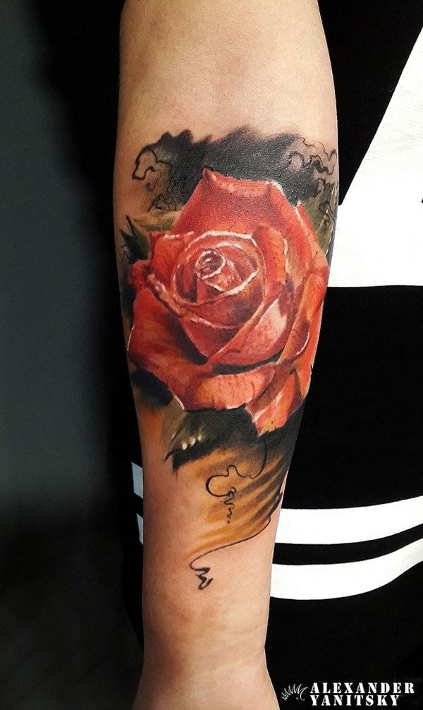 rosa realistica mezza manica tatuaggio