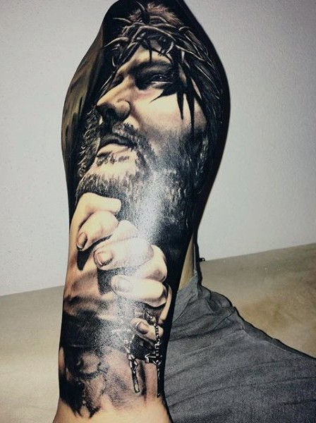 0c36cafa2 Realistic style black and white forearm tattoo of Jesus portrait and praying  hands