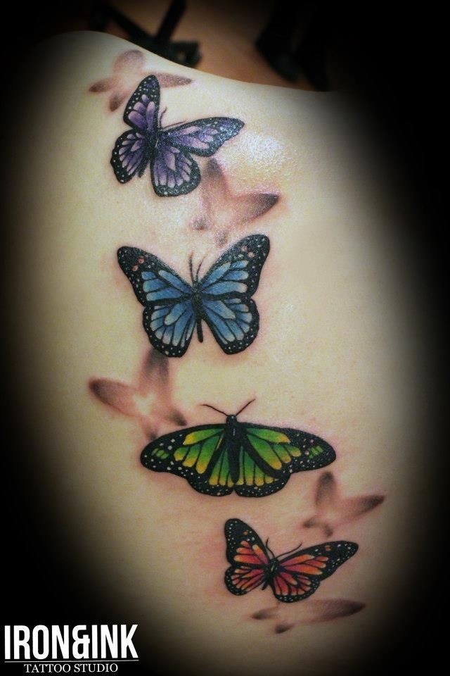 Realistic tattoo butterflies
