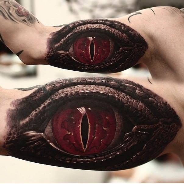 Realistic terrible red eye reptile tattoo on arm by Shevchenko
