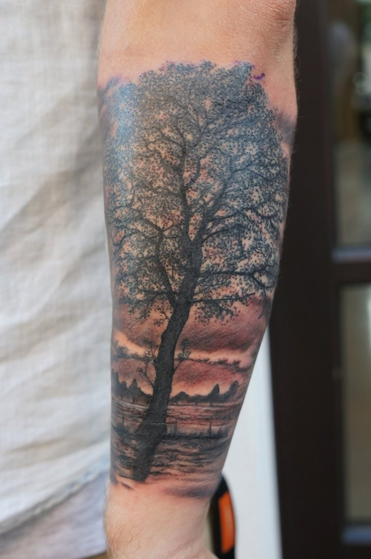 Realistic tree forearm tattoo by graynd for Tree tattoo on forearm