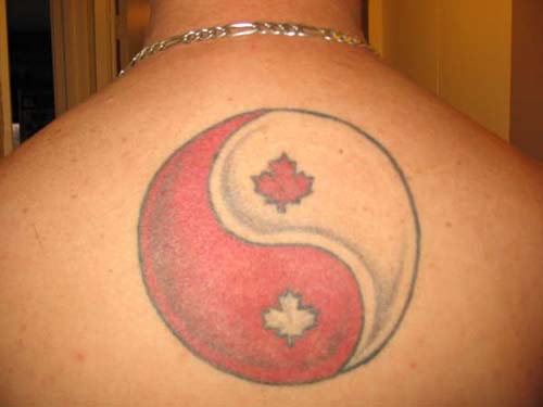 Red and white yin yang symbol