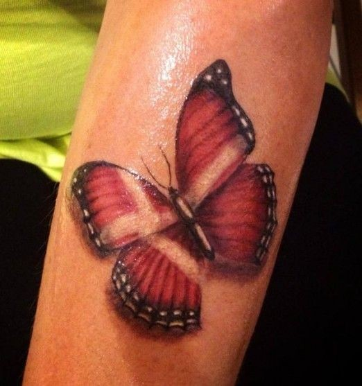 Red realistic butterfly
