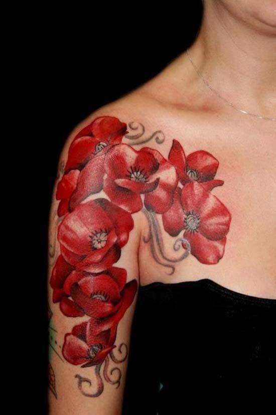 Coquelicots Rouge Le Tatouage Sur L Epaule Tattooimages Biz