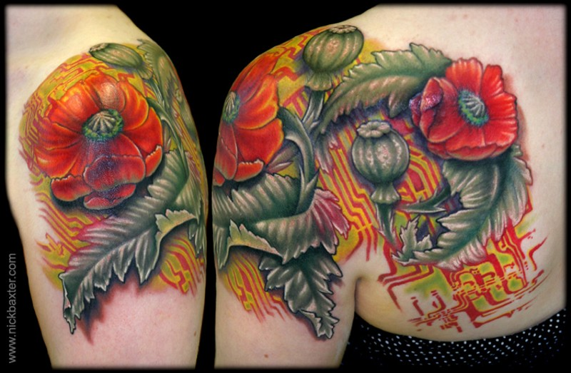 Red poppy stylized with chip scheme bright colored shoulder blade original tattoo