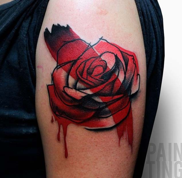Red rose flower shoulder tattoo in original technique with bloody paint drip and red line