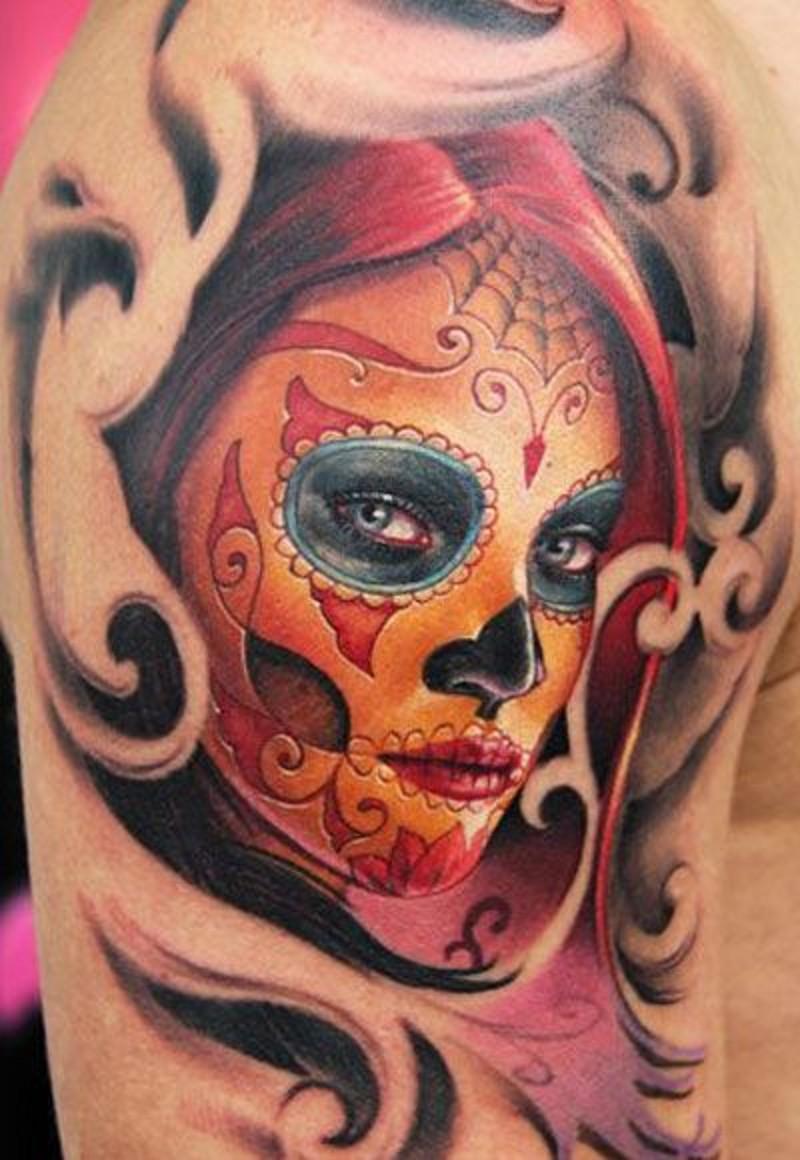 Redhead santa muerte girl witn patterns tattoo
