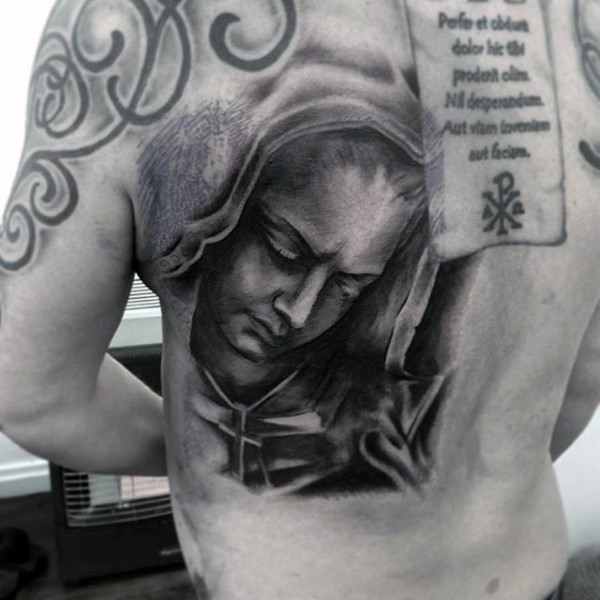 Religious style colored back tattoo of sad woman