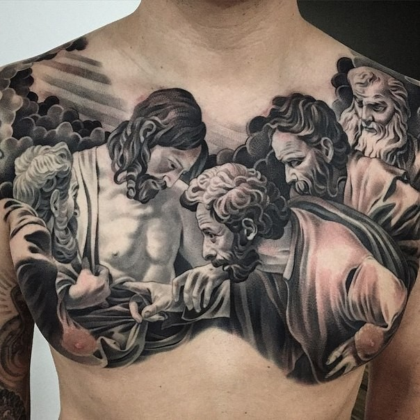 Religious style colored chest tattoo