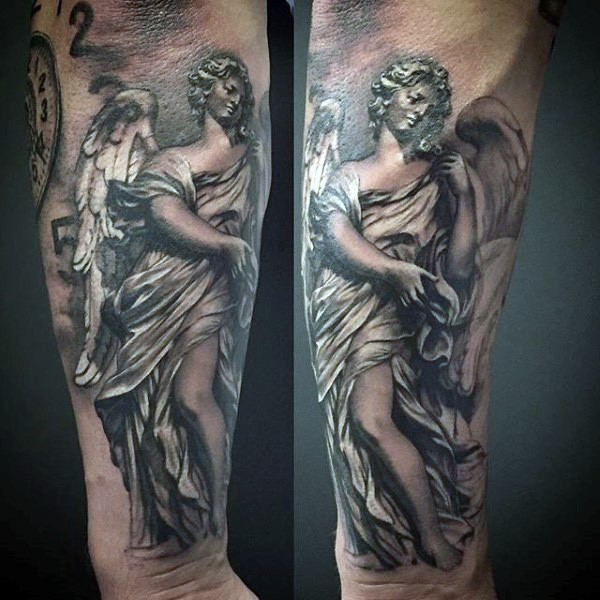 Religious style detailed paintings on forearm tattoo of angel