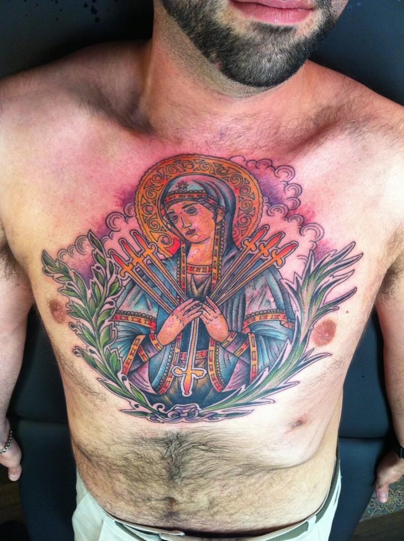 religi ses farbiges brust tattoo von heiliger frau mit bl ttern. Black Bedroom Furniture Sets. Home Design Ideas