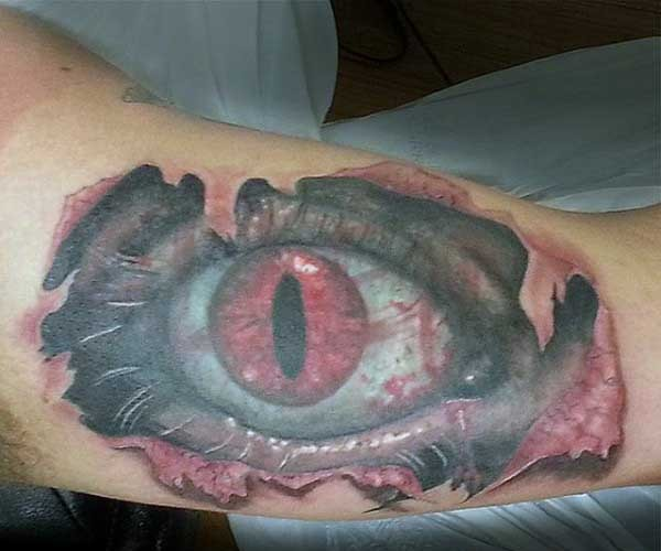 ripped skin style multicolored dragon eye tattoo on arm. Black Bedroom Furniture Sets. Home Design Ideas