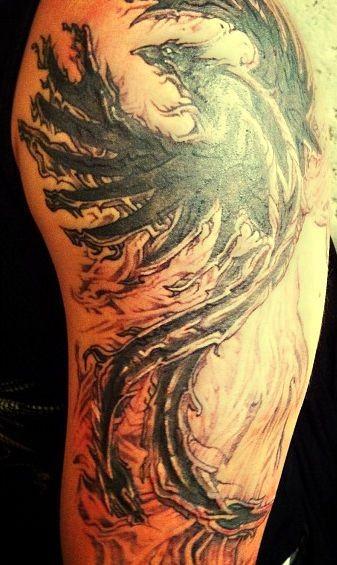 Risen from fire phoenix tattoo on half sleeve for Phoenix tattoo half sleeve