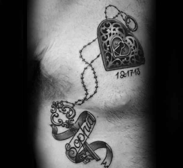 Romantic black ink memorial tattoo of heart shaped lock with key and lettering