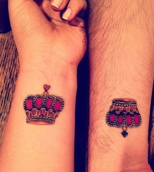 Romantic crown tattoo for lovely couples