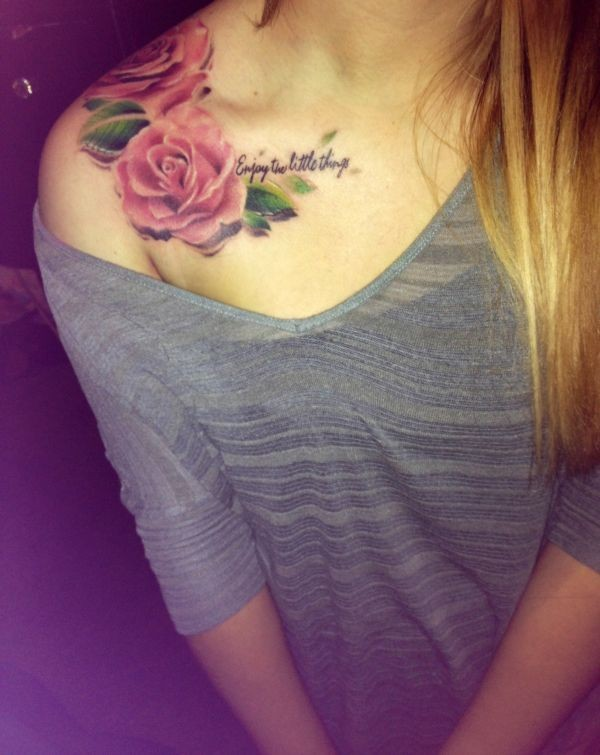 Romantic style 3D like pink flowers with lettering tattoo on shoulder