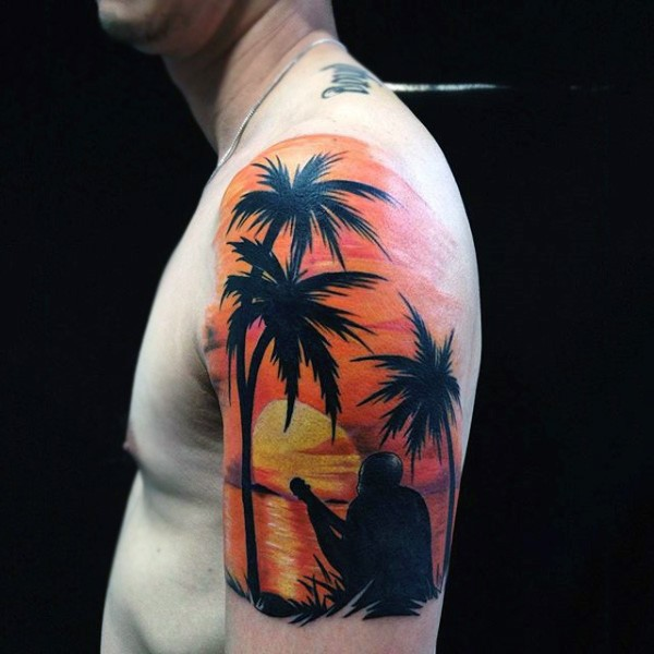 Romantic style painted colored musician on ocean beach half sleeve zone tattoo