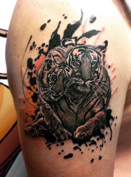 Romantic watercolor style shoulder tattoo of tiger couple