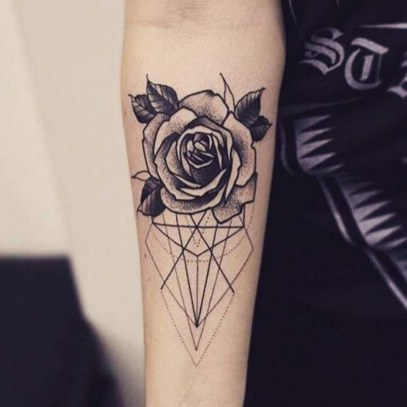 Rose flower and geometrical lines and figures forearm black and white tattoo