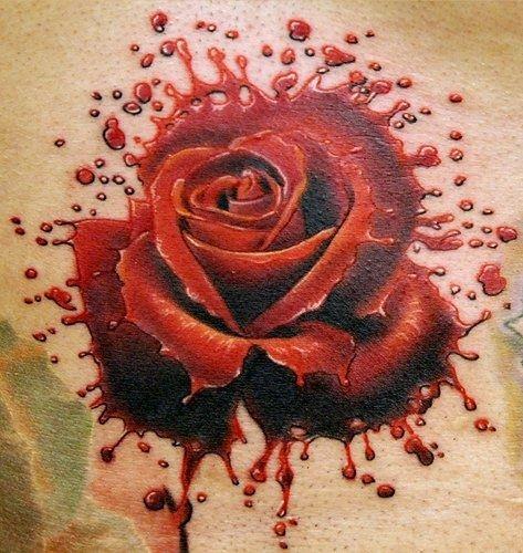 Rose of blood splash tattoo by phil garcia