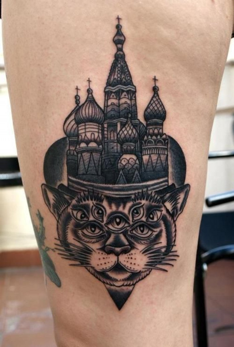 Russian native big church with mystic cat tattoo on thigh