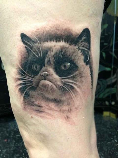 Sad cat tattoo on leg