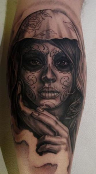 Sad nice santa muerte girl tattoo