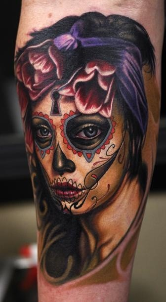 Sad santa muerte girl with dark tulips tattoo