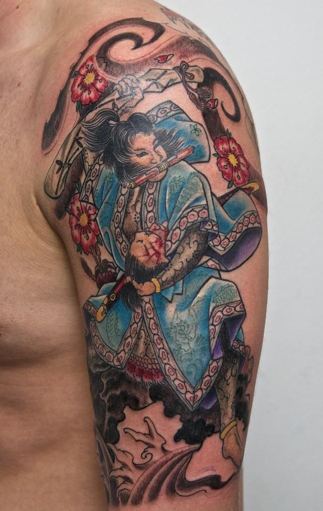 Samurai tattoo on half sleeve by graynd