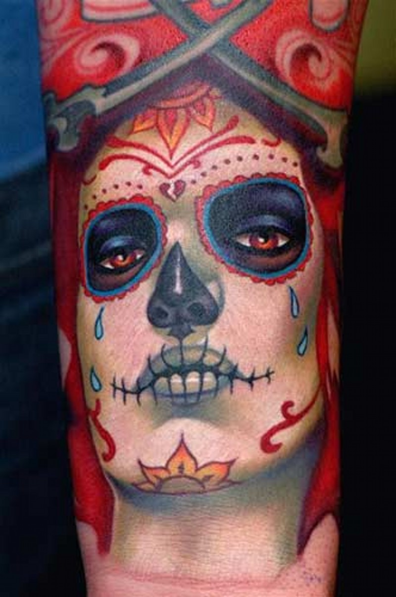 Santa muerte girl a crying tattoo