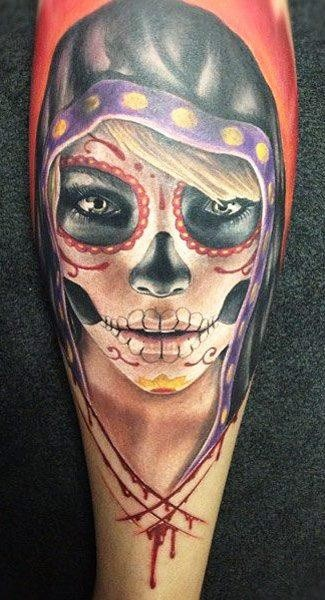 Santa muerte girl in a black hood tattoo