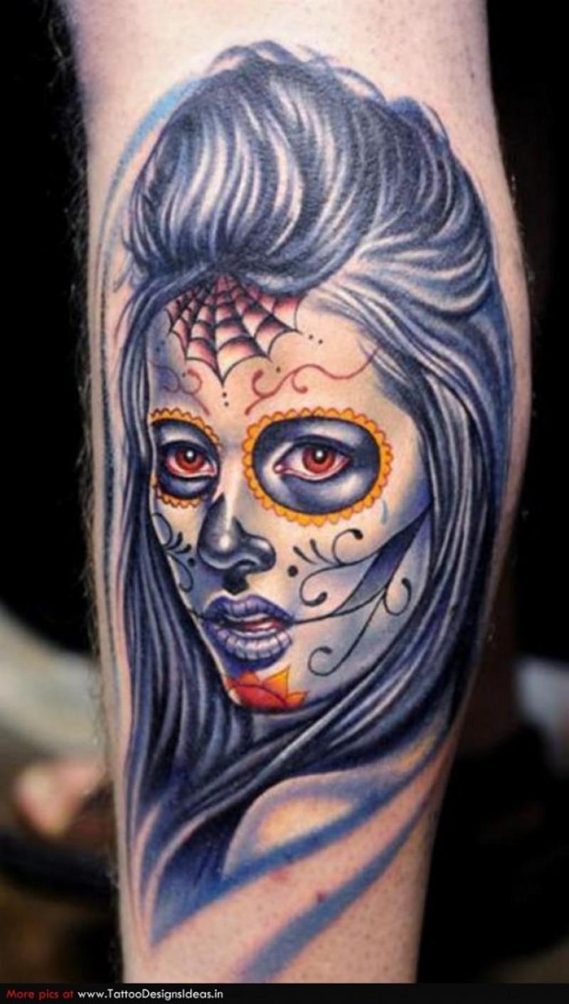 Tatuaggio carino sul braccio Santa Morte con i capelli violi