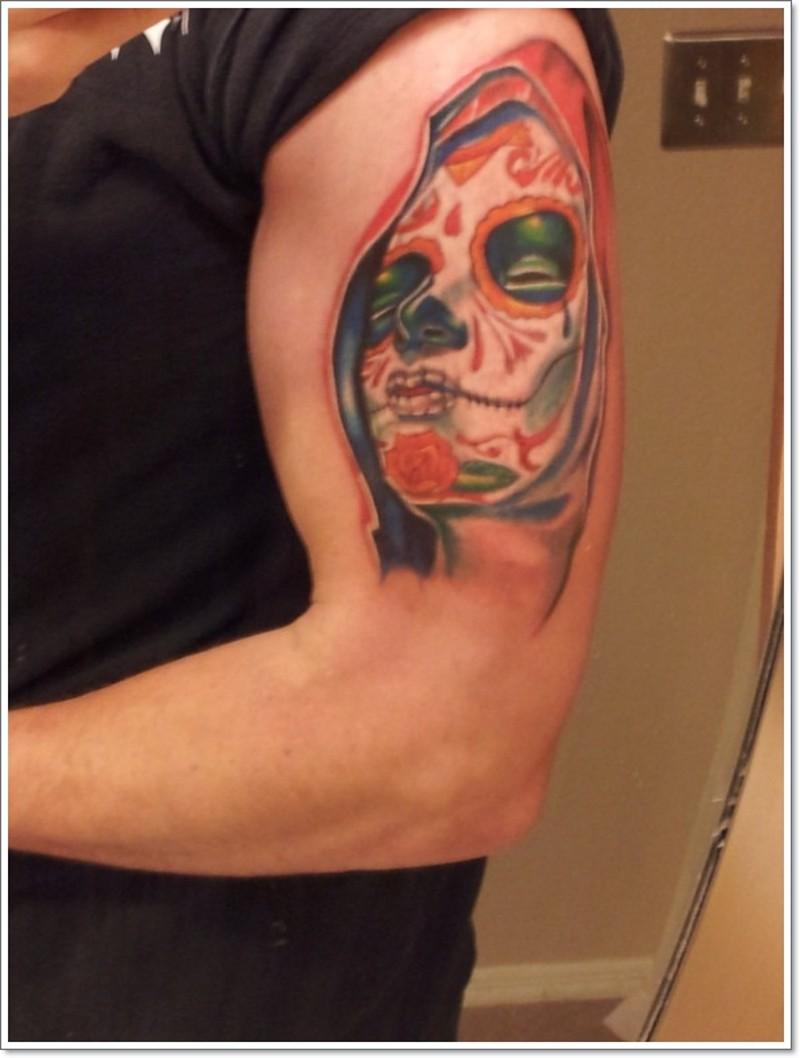 Santa muerte girl tattoo on half sleeve