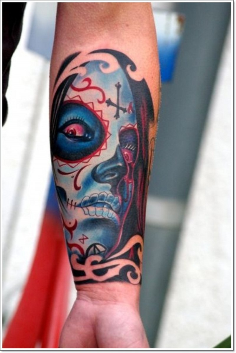 Santa muerte girl with red eyes tattoo