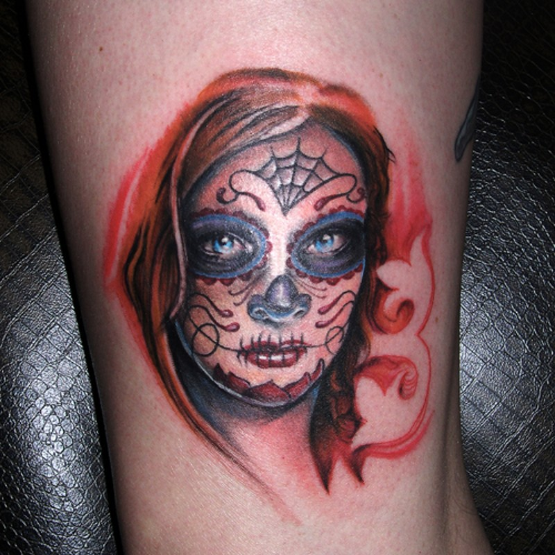 Santa muerte girl with red hair tattoo