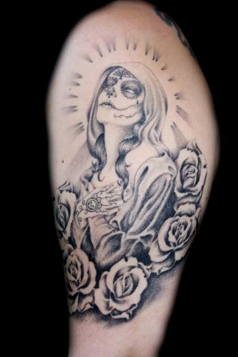 Santa muerte praying girl tattoo