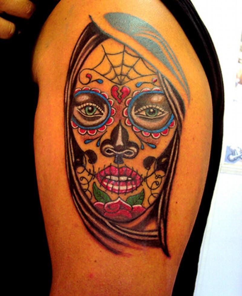 Santa muerte tattoo on shoulder for men