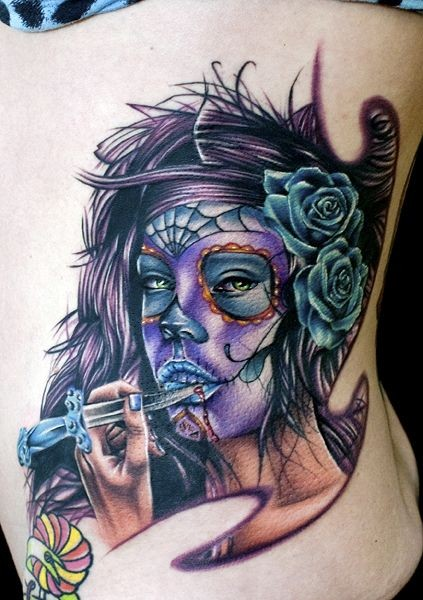 Santa muerte with a knife in his hand tattoo on ribs