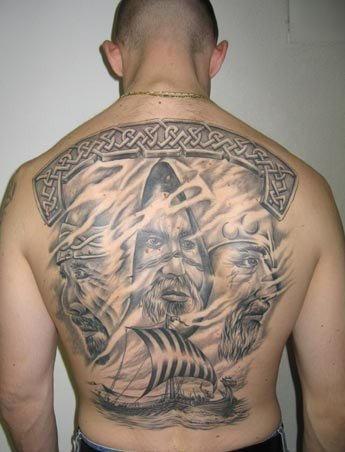 Scandinavian gods and vikings on a boat tattoo on back