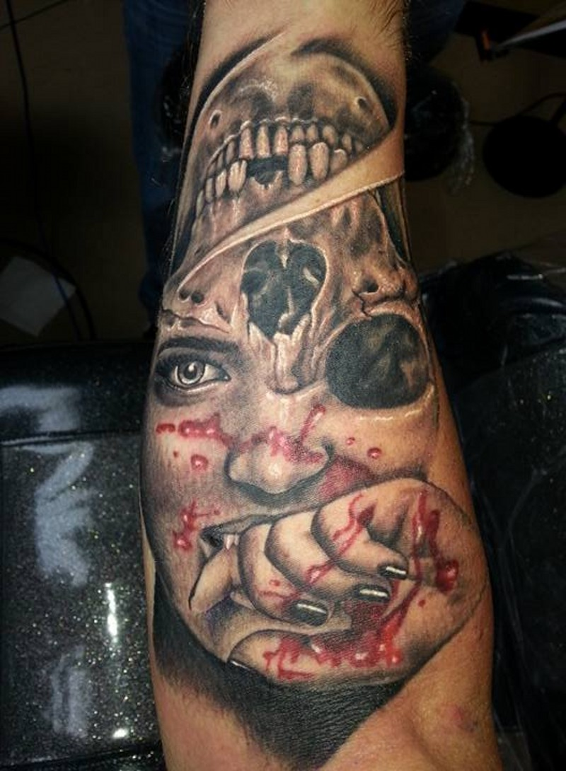 Scary colored 3D vampire woman portrait tattoo on arm combined with human skull