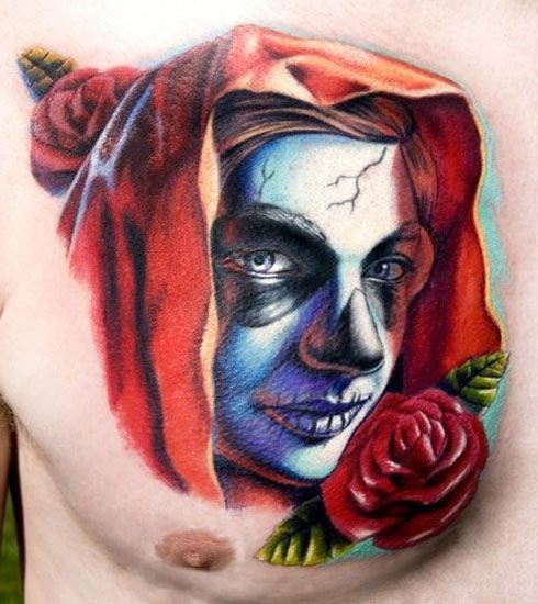 Scary vivid colors santa muerte tattoo