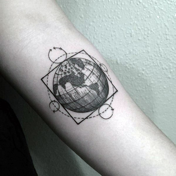 Science style black ink forearm tattoo of big planet